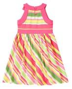 Платье в полоску с бантом Gymboree, цвет розовый-желтый-зеленый