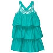 Платье-сарафан Carters с горизонтальными оборками и вышивкой на грудке, цвет бирюзовый
