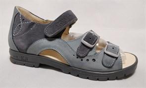 Босоножки Тотто, модель 1027-53,221,09, цвет джинс/серый, размеры 32-34