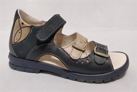 Босоножки Тотто, модель 1027-2,2,18, цвет темно-синий/бежевый, размеры 27-34