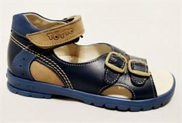 Босоножки Тотто, модель 10212-3,43,18, цвет синий/бежевый, размеры 27-34